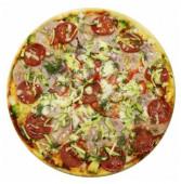Пицца с ветчиной и копченостями, 600 гр.