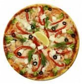 Пицца с тигровыми креветками, семгой и кальмарами, 650 гр.