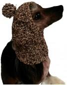 Шапка вязанная для собак с помпоном